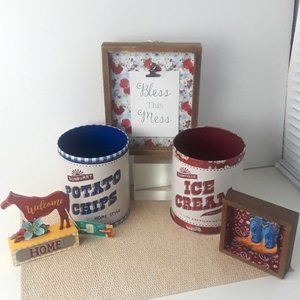 The Pioneer Woman Accents - The Pioneer Woman Tin Storage Decor Bundle